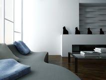 Interno alla moda del salone con lo strato e la mobilia di progettazione illustrazione vettoriale