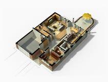 interno ammobiliato 3D della Camera Immagini Stock