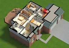 interno ammobiliato 3D della Camera Fotografie Stock Libere da Diritti