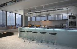 Interno aperto spazioso della cucina di piano royalty illustrazione gratis