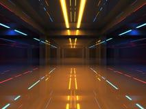 Interno astratto 3d con le luci al neon variopinte illustrazione di stock
