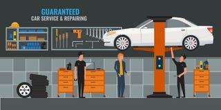 Interno automatico dell'officina riparazioni con i meccanici o i padroni che lavorano e le automobili della riparazione, servizio illustrazione di stock