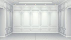 Interno bianco classico con lo spazio della copia Pareti rosse con la decorazione classica Spina di pesce del parquet del pavimen illustrazione di stock