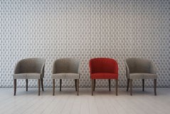 Interno bianco con il modello della decorazione della parete e le poltrone, sala di attesa Fotografia Stock