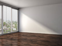 Interno bianco con la grande finestra illustrazione 3D Fotografie Stock Libere da Diritti