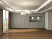 Interno bianco con la grande finestra illustrazione 3D Immagine Stock