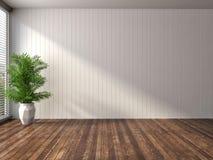 Interno bianco con la grande finestra illustrazione 3D Fotografia Stock Libera da Diritti