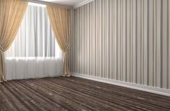 Interno bianco con la grande finestra illustrazione 3D Fotografie Stock