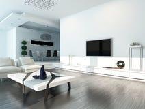 Interno bianco del salone con mobilia moderna Immagine Stock Libera da Diritti