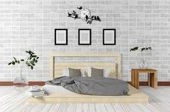 Interno bianco del sottotetto e minimo di stile della camera da letto nel concetto vivente semplice Fotografie Stock Libere da Diritti