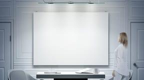 Interno bianco dell'ufficio con il manifesto in bianco, modello del supporto della persona illustrazione vettoriale