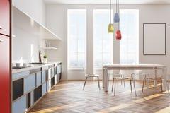 Interno bianco della cucina, manifesto, lato Immagini Stock