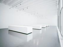 Interno in bianco della galleria dello spazio aperto 3d rendono Immagini Stock Libere da Diritti