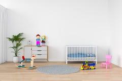 Interno bianco della stanza di bambino per il modello, rappresentazione 3D Immagine Stock Libera da Diritti