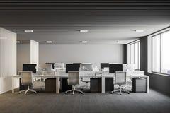 Interno bianco e grigio dell'ufficio open space Fotografia Stock