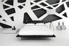 Interno in bianco e nero moderno della camera da letto Fotografia Stock