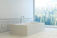 Interno bianco minimalista moderno del bagno fotografia stock
