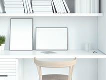 Interno bianco moderno con due cornici in bianco rappresentazione 3d Fotografie Stock Libere da Diritti