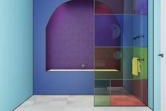 Interno blu del bagno del vetro macchiato, vasca Immagine Stock Libera da Diritti