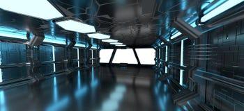 Interno blu dell'astronave con gli elementi vuoti della rappresentazione della finestra 3D Fotografie Stock