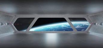 Interno blu grigio futuristico dell'astronave con la vista sul pianeta Eart illustrazione vettoriale
