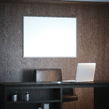 Interno classico con il posto di lavoro e la grande tela bianca rappresentazione 3d Fotografia Stock Libera da Diritti