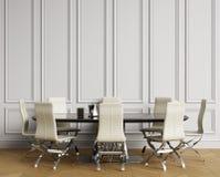 Interno classico con la tavola e le sedie Pareti bianche con i modanature, spina di pesce del parquet del pavimento royalty illustrazione gratis