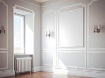 Interno classico con le pareti e la cornice grige rappresentazione 3d Fotografie Stock Libere da Diritti