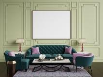 Interno classico nei colori beige e rosa Sofà, sedie, sidetables Fotografia Stock Libera da Diritti