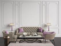 Interno classico nei colori beige e rosa Sofà, sedie, sidetables Immagine Stock