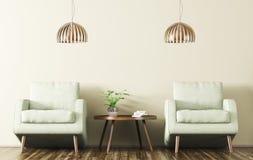 Interno con due poltrone e rappresentazioni del tavolino da salotto 3d Fotografia Stock Libera da Diritti