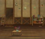 Interno con i pavimenti di legno e una vecchia parete illustrazione di stock