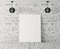 Interno con il manifesto e due lampade sopra la rappresentazione del muro di mattoni 3d Fotografia Stock