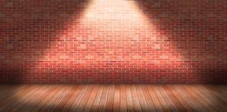 Interno con il muro di mattoni ed il pavimento di legno Fotografia Stock