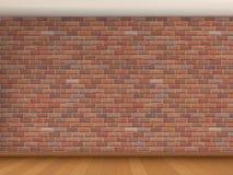 Interno con il muro di mattoni rosso Fotografie Stock