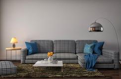 Interno con il sofà blu illustrazione 3D illustrazione di stock
