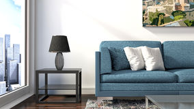 Interno con il sofà blu illustrazione 3D Fotografie Stock Libere da Diritti