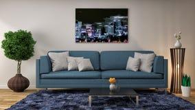 Interno con il sofà blu illustrazione 3D Immagine Stock