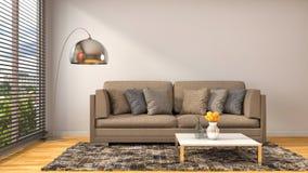 Interno con il sofà blu illustrazione 3D Immagini Stock Libere da Diritti