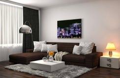 Interno con il sofà grigio illustrazione 3D illustrazione vettoriale