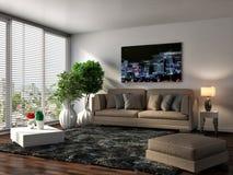 Interno con il sofà marrone illustrazione 3D Immagine Stock