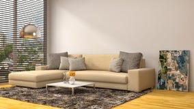 Interno con il sofà marrone illustrazione 3D Fotografia Stock Libera da Diritti