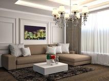 Interno con il sofà marrone illustrazione 3D Fotografie Stock
