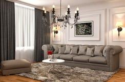Interno con il sofà marrone illustrazione 3D Fotografia Stock