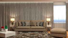 Interno con il sofà marrone illustrazione 3D Immagini Stock Libere da Diritti