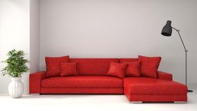 Interno con il sofà rosso illustrazione 3D Fotografie Stock