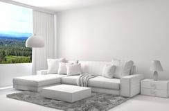 Interno con la maglia del wireframe di cad e del sofà illustrazione 3D Fotografia Stock Libera da Diritti