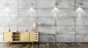 Interno con la rappresentazione di legno del gabinetto 3d Fotografia Stock Libera da Diritti