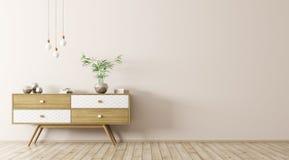 Interno con la rappresentazione di legno della credenza 3d Immagine Stock