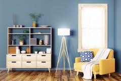Interno con la rappresentazione di legno della poltrona e del gabinetto 3d Fotografia Stock